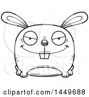 Cartoon Black And White Lineart Evil Bunny Rabbit Hare Character Mascot