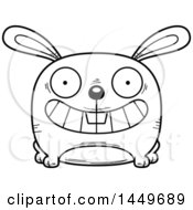 Clipart Graphic Of A Cartoon Black And White Lineart Grinning Bunny Rabbit Hare Character Mascot Royalty Free Vector Illustration by Cory Thoman