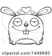 Clipart Graphic Of A Cartoon Black And White Lineart Loving Bunny Rabbit Hare Character Mascot Royalty Free Vector Illustration by Cory Thoman