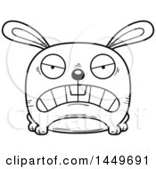 Clipart Graphic Of A Cartoon Black And White Lineart Mad Bunny Rabbit Hare Character Mascot Royalty Free Vector Illustration by Cory Thoman