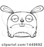 Clipart Graphic Of A Cartoon Black And White Lineart Sad Bunny Rabbit Hare Character Mascot Royalty Free Vector Illustration by Cory Thoman