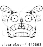 Clipart Graphic Of A Cartoon Black And White Lineart Scared Bunny Rabbit Hare Character Mascot Royalty Free Vector Illustration by Cory Thoman