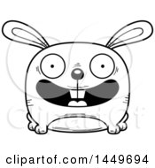 Clipart Graphic Of A Cartoon Black And White Lineart Happy Bunny Rabbit Hare Character Mascot Royalty Free Vector Illustration by Cory Thoman