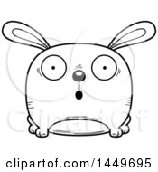 Cartoon Black And White Lineart Surprised Bunny Rabbit Hare Character Mascot