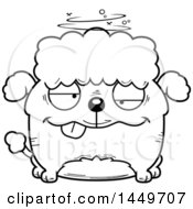 Clipart Graphic Of A Cartoon Black And White Lineart Drunk Poodle Dog Character Mascot Royalty Free Vector Illustration by Cory Thoman