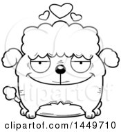 Cartoon Black And White Lineart Loving Poodle Dog Character Mascot