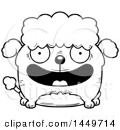 Clipart Graphic Of A Cartoon Black And White Lineart Happy Poodle Dog Character Mascot Royalty Free Vector Illustration by Cory Thoman