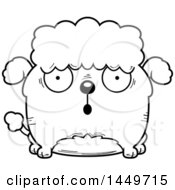 Clipart Graphic Of A Cartoon Black And White Lineart Surprised Poodle Dog Character Mascot Royalty Free Vector Illustration by Cory Thoman