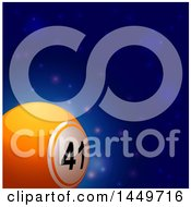 3d Orange Number 41 Lottery Or Bingo Ball Over A Blue Outer Space Background