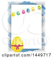 Yellow Polka Dot Easter Egg And Bunting Over A Panel And Clouds On White