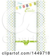 Happy Easter Greeting And Egg Bunting Banner Over Polka Dots