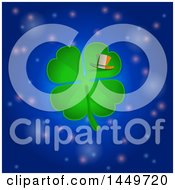 Clipart Graphic Of A St Patricks Day Four Leaf Clover With An Irish Flag Striped Leprechaun Hat Over An Outer Space Background Royalty Free Vector Illustration
