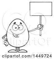 Clipart Graphic Of A Cartoon Black And White Lineart Egg Mascot Character Holding Up A Blank Sign Royalty Free Vector Illustration