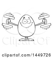 Clipart Graphic Of A Cartoon Black And White Lineart Egg Mascot Character Working Out With Dumbbells Royalty Free Vector Illustration