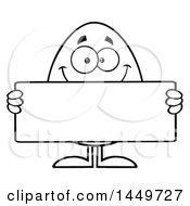 Clipart Graphic Of A Cartoon Black And White Lineart Egg Mascot Character Holding A Blank Sign Royalty Free Vector Illustration