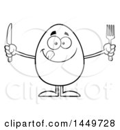 Cartoon Black And White Lineart Hungry Egg Mascot Character Holding A Knife And Fork