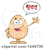 Clipart Graphic Of A Cartoon Egg Mascot Character Waving And Saying Yo Royalty Free Vector Illustration by Hit Toon