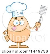 Clipart Graphic Of A Cartoon Chef Egg Mascot Character Holding A Spatula Royalty Free Vector Illustration by Hit Toon