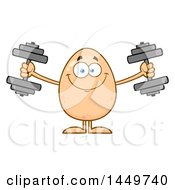 Cartoon Egg Mascot Character Working Out With Dumbbells