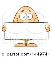 Cartoon Egg Mascot Character Holding A Blank Sign