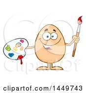 Clipart Graphic Of A Cartoon Happy Artist Egg Mascot Character Royalty Free Vector Illustration by Hit Toon
