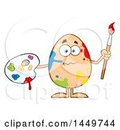 Cartoon Artist Egg Mascot Character With Paint Splatters