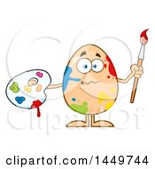 Clipart Graphic Of A Cartoon Artist Egg Mascot Character With Paint Splatters Royalty Free Vector Illustration by Hit Toon