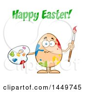 Cartoon Artist Egg Mascot Character With Paint Splatters Under Happy Easter Text