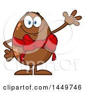 Clipart Graphic Of A Cartoon Chocolate Easter Egg Mascot Character Waving Royalty Free Vector Illustration by Hit Toon