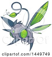 Clipart Graphic Of A Cartoon Flying Robot Hummingbird Or Bee Royalty Free Vector Illustration