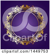 Clipart Graphic Of A Golden Ornate Floral Round Frame On Purple Royalty Free Vector Illustration by KJ Pargeter