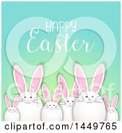 Clipart Graphic Of A Egg Shaped Easter Bunnys Under A Greeting Royalty Free Vector Illustration by KJ Pargeter