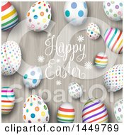 Border Of Colorful Eggs With Happy Easter Text On Wood