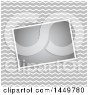 Clipart Graphic Of A Gray And White Zig Zag Background With A Blank Picture Royalty Free Vector Illustration