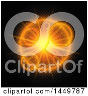 Clipart Graphic Of A Bright Orange Burst On Black And Checkers Royalty Free Vector Illustration