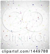 Clipart Graphic Of A Background Of A Network With Colorful Connecting Dots On Gray Royalty Free Vector Illustration