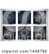 Clipart Graphic Of Ornate Golden Mandala Designs On Black Over A Gray Background Royalty Free Vector Illustration