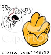 Clipart Graphic Of A Cartoon Horrified Baseball Mascot Flying Towards A Mitt Royalty Free Vector Illustration