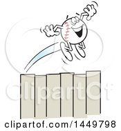 Clipart Graphic Of A Cartoon Happy Homer Baseball Mascot Flying Over A Fence Royalty Free Vector Illustration