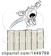 Clipart Graphic Of A Cartoon Horrified Homer Baseball Mascot Flying Over A Fence Royalty Free Vector Illustration
