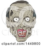 Clipart Graphic Of A Sketched Drawing Styled Zombie Head Royalty Free Vector Illustration by patrimonio