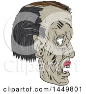 Clipart Graphic Of A Sketched Drawing Styled Zombie Head In Profile Royalty Free Vector Illustration by patrimonio