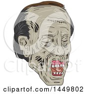 Clipart Graphic Of A Sketched Drawing Styled Zombie Head Facing Partially Right Royalty Free Vector Illustration by patrimonio