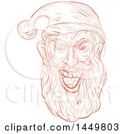 Clipart Graphic Of A Sketched Drawing Styled Evil Santa Claus Face Royalty Free Vector Illustration by patrimonio