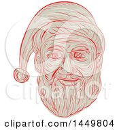 Clipart Graphic Of A Sketched Drawing Styled Santa Claus Face Royalty Free Vector Illustration by patrimonio