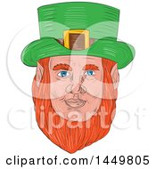 Clipart Graphic Of A Sketched Drawing Styled Leprechaun Face Royalty Free Vector Illustration by patrimonio
