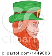 Clipart Graphic Of A Sketched Drawing Styled Leprechaun Face Facing Right Royalty Free Vector Illustration by patrimonio