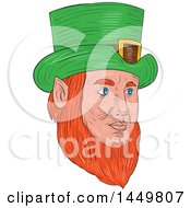 Clipart Graphic Of A Sketched Drawing Styled Leprechaun Face Facing Partially Right Royalty Free Vector Illustration by patrimonio