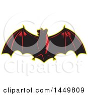 Clipart Graphic Of A Retro Woodcut Red And Black Flying Bat With A Yellow Outline Royalty Free Vector Illustration