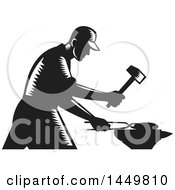 Clipart Graphic Of A Retro Black And White Woodcut Blacksmith Worker Forging Iron Royalty Free Vector Illustration